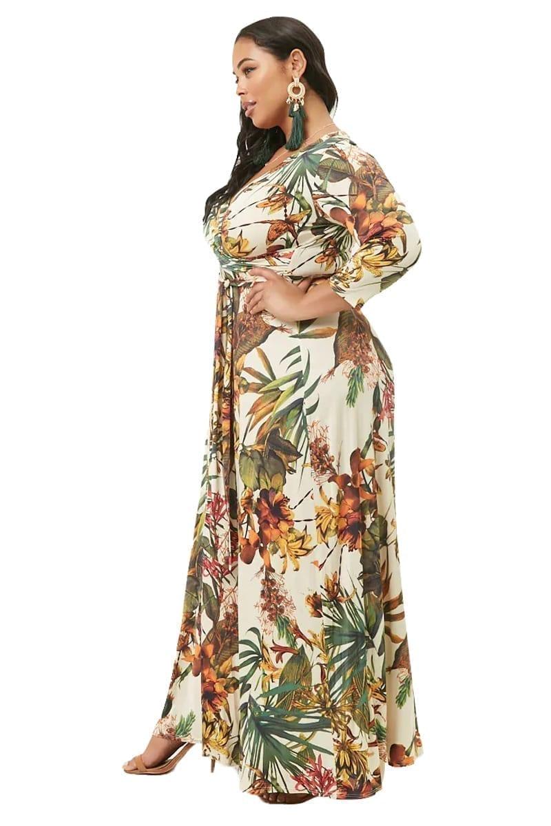 Plus-Size-Tropical-Surplice-Maxi-Dress-L