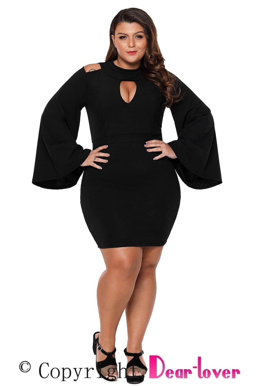 Black-Plus-Size-Cut-Out-Bell-Sleeve-Body