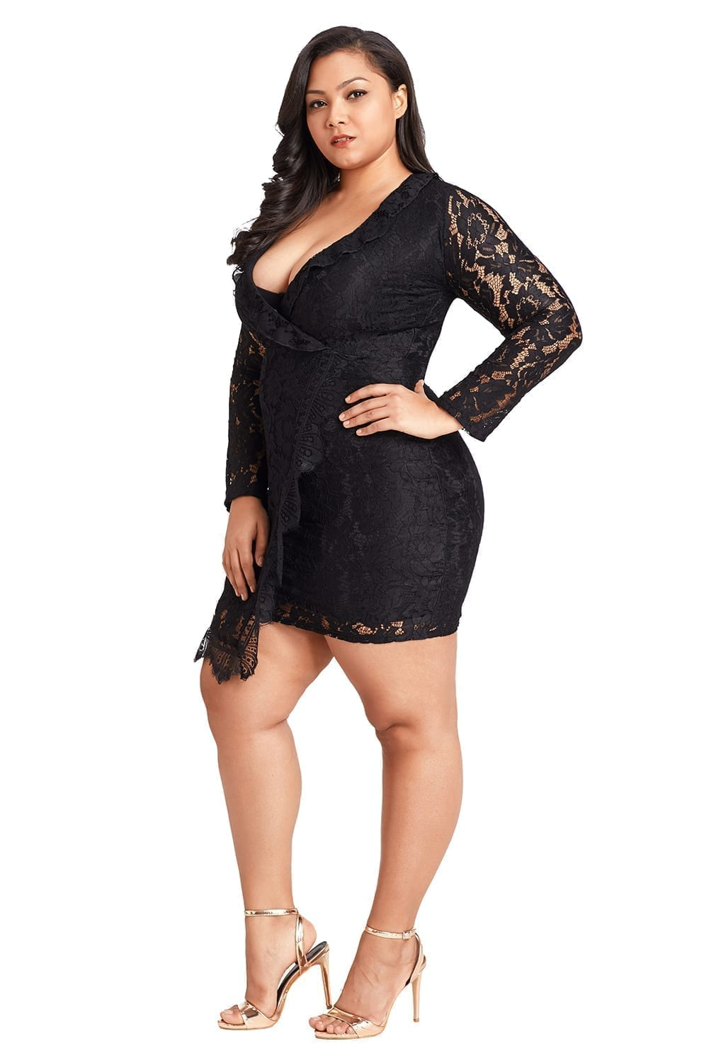 products Black Plus Size Lace Faux Wrap Ruffle Dr Logo