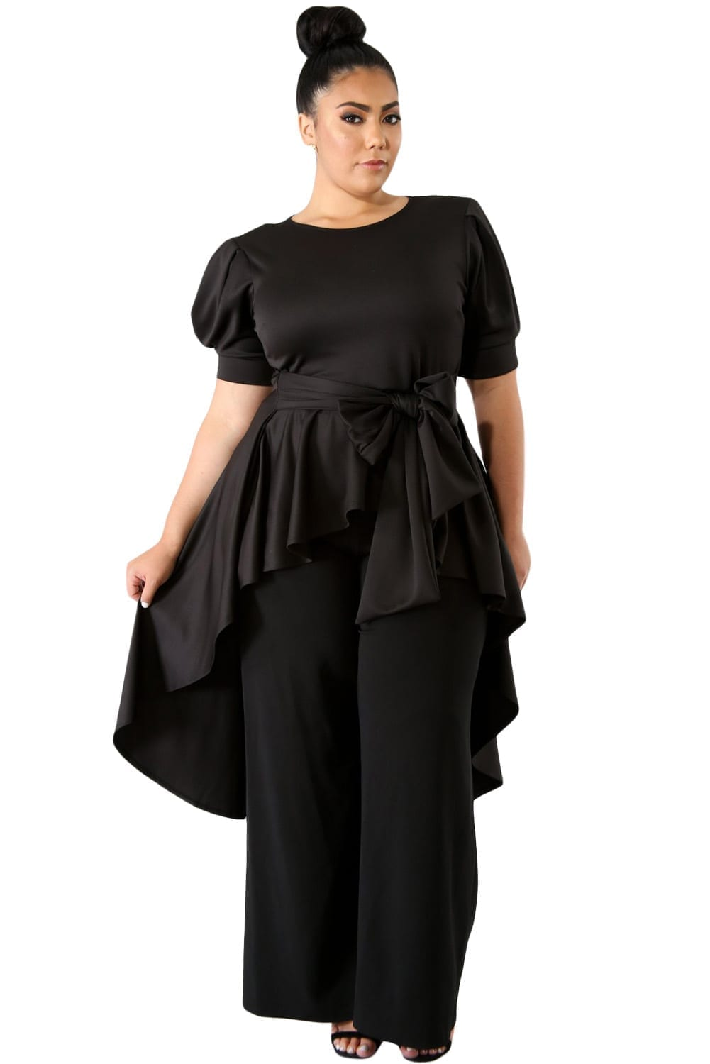 Black-Puff-Long-Tail-Plus-Size-Top-LC251
