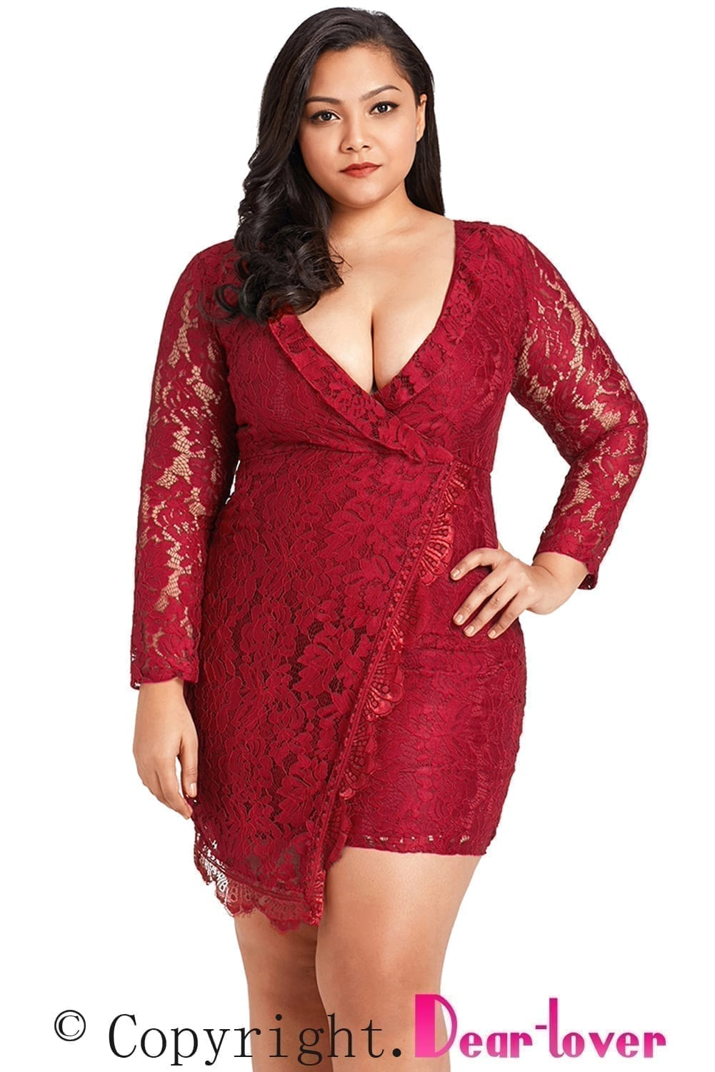 products Burgundy Plus Size Lace Faux Wrap Ruffle Logo