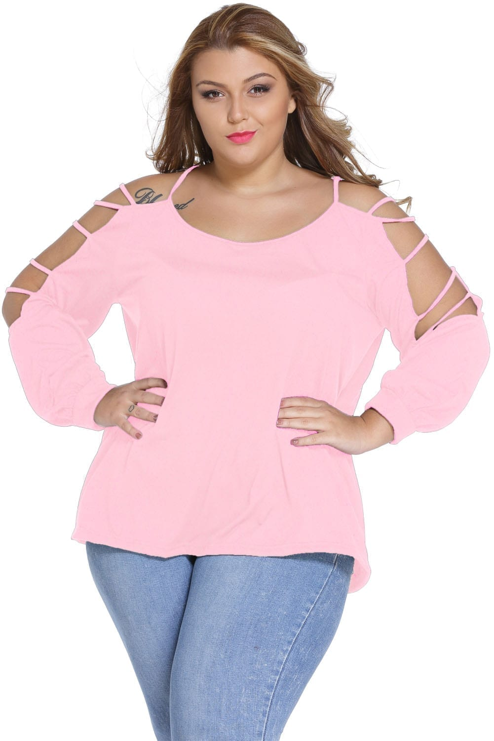 Pink-Plus-Cut-out-Swing-Arm-Top-LC25757-