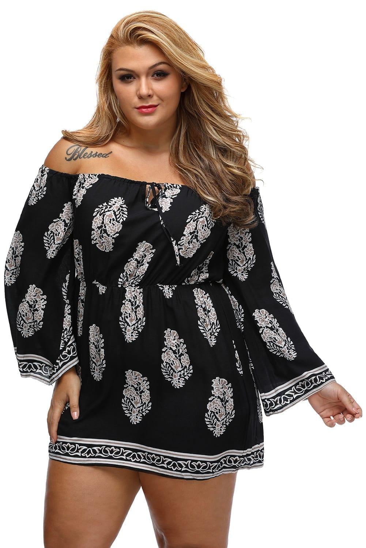 Plus-Size-Floral-Print-Bardot-Neck-Black